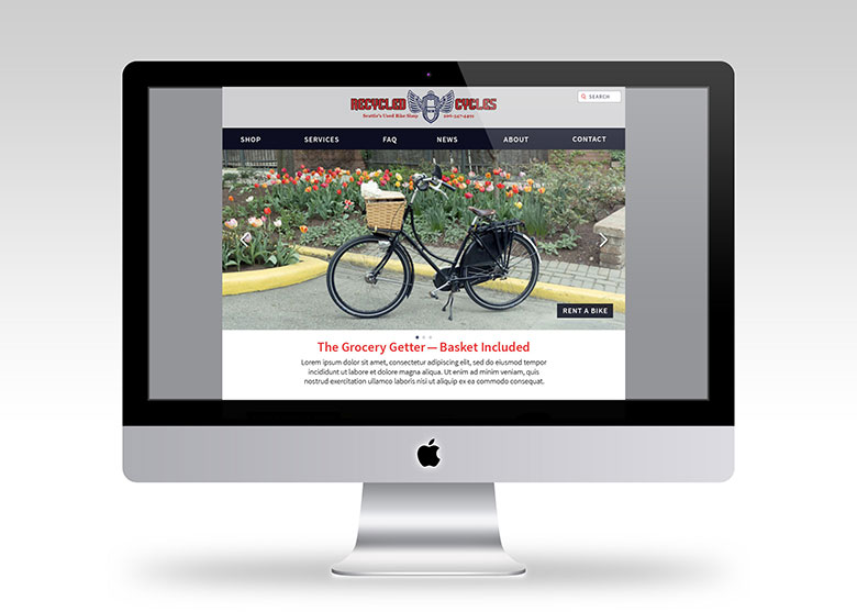 Recycled Cycles Homepage Desktop Mockup